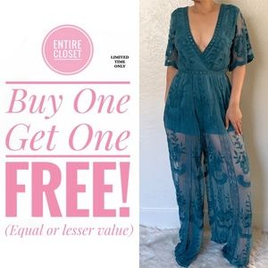 NWT Honey Punch Lace Romper Jumpsuit Teal Blue